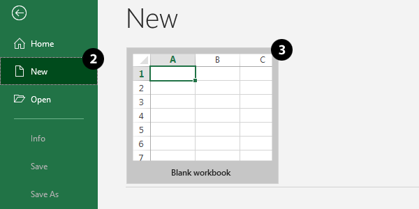 Create a New Blank Workbook