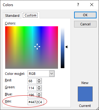 Show the Hex Color Code Format Option in Excel